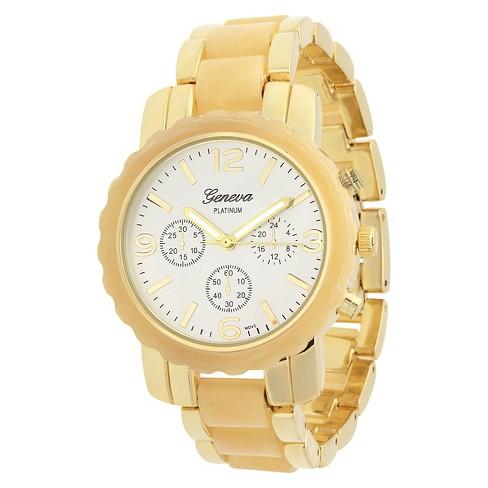 Women's  Geneva Platinum  Two-Tone Link Watch - White - image 1 of 3