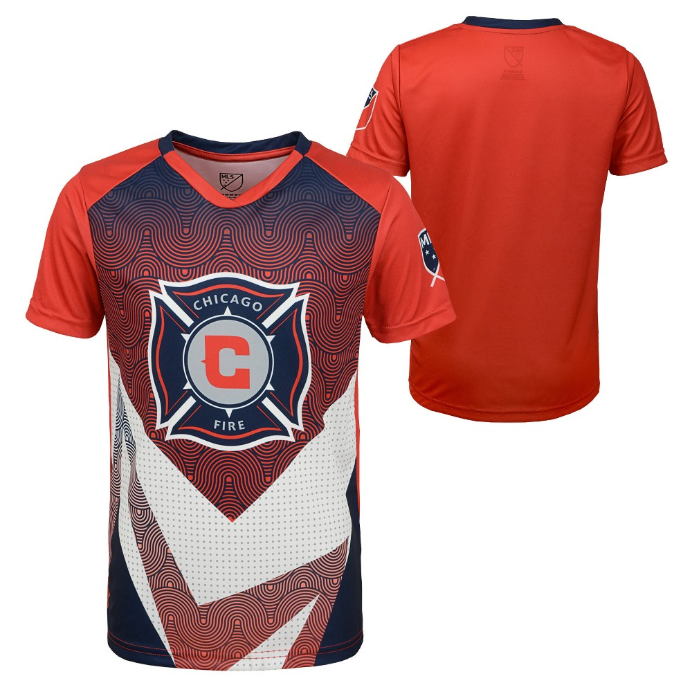 Boys' Short Sleeve Game Winner Sublimated Performance T-Shirt Chicago Fire XL, Multicolored