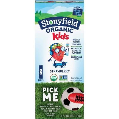 Stonyfield Organic YoKids Low Fat Strawberry Kids' Greek Yogurt Squeezers - 2oz/8ct