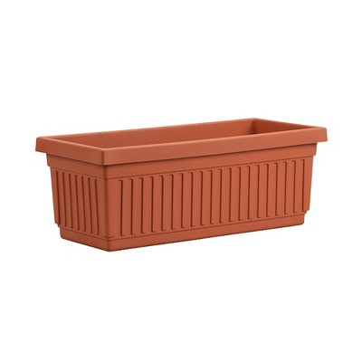 HC Companies 30 Inch Long Fluted Plastic Venetian Garden Window Container Planter Box for Indoor or Outdoor Flowers, Vegetables, or Succulents (Clay)