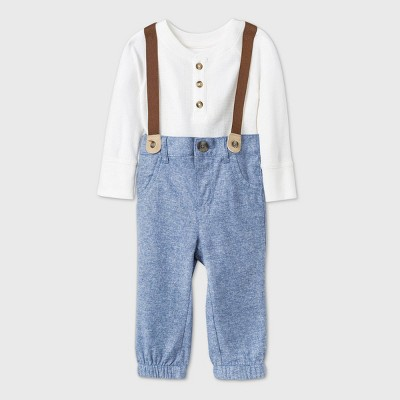 Baby Boys' Chambray Thermal Bodysuit Suspender Romper Set - Cat & Jack™ Cream 0-3M