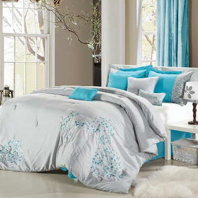Chic Home Pink Floral Grey & Aqua Microfiber Embroidered Comforter Bed In A Bag Set 12 Piece