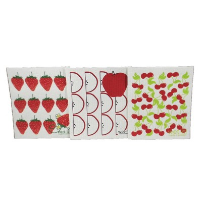 "Swedish Dish Cloth 7.75"" Fruit Stand  Set / 3 Dishcloth Clean Up Kitchen  -  Dish Cloth"