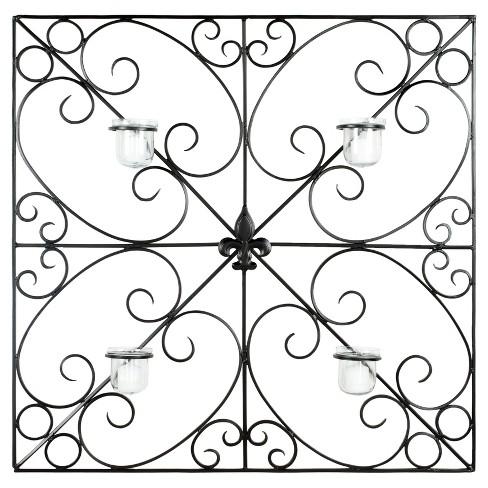 4 Votive Candle Holder Fleur de Lis Wall Decor - Safavieh - image 1 of 3