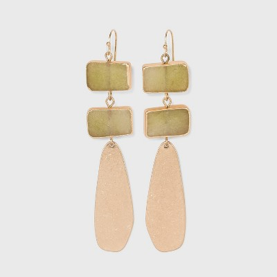 Semi-Precious and Flat Metal with Rectangle Drop Earrings - Universal Thread™