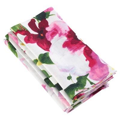 4pk Floral Printed Design Napkin 20  - Saro Lifestyle®