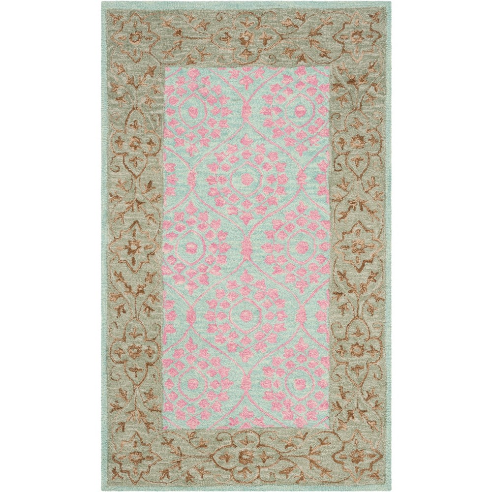 2 X3 Leaf Hooked Accent Rug Taupe Pink Safavieh