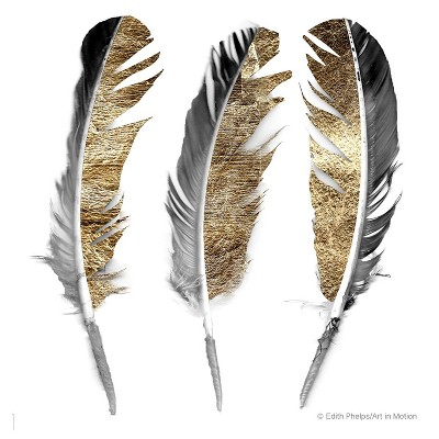 4pk Ceramic Gold and Silver Feather Print Coasters - Thirstystone