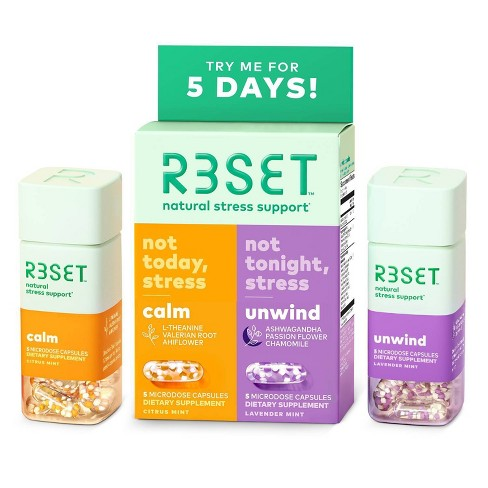 R3SET Natural Stress & Anxiety Relief Calm & Unwind Supplement Capsules - 10ct - image 1 of 4