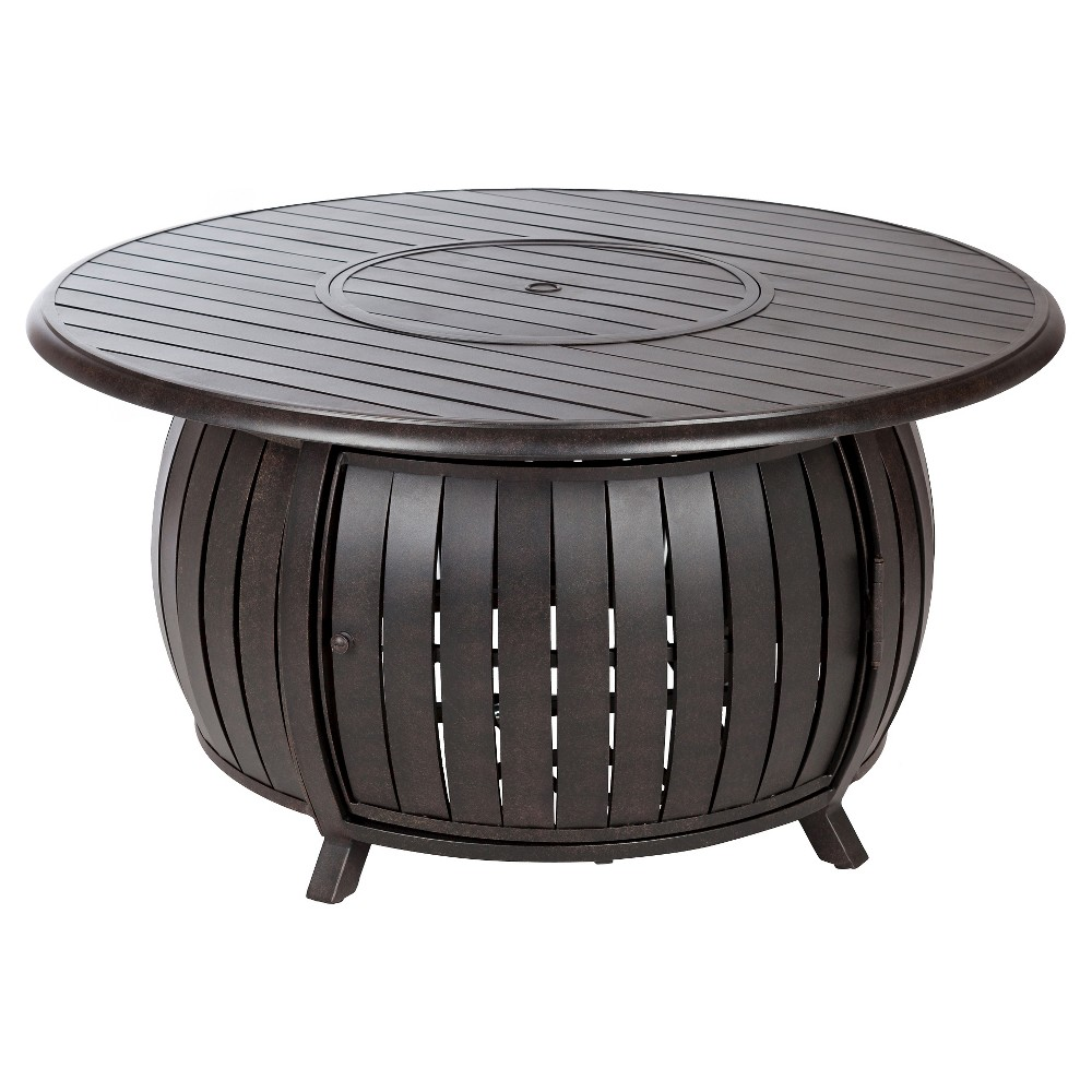 Image of Fire Sense Extruded Aluminum Round Lpg Fire Pit, Bronze Brown