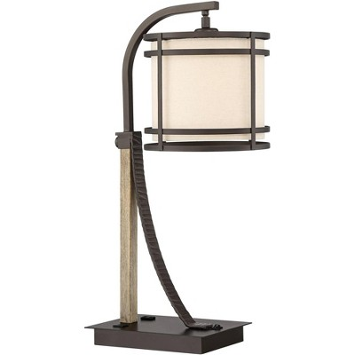 Franklin Iron Works Farmhouse Desk Table Lamp with USB and AC Power Outlet in Base Oiled Bronze Oatmeal Shade for Bedroom Office
