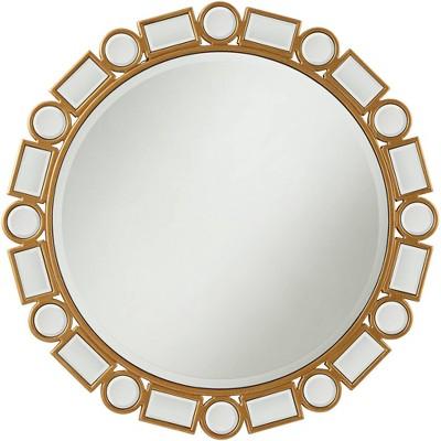 """Possini Euro Design Possini Euro Bria 30 3/4"""" Antique Gold Round Wall Mirror"""