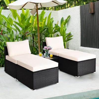 Costway 5PCS Patio Rattan Wicker Furniture Set Armless Sofa Ottoman Cushioned Garden