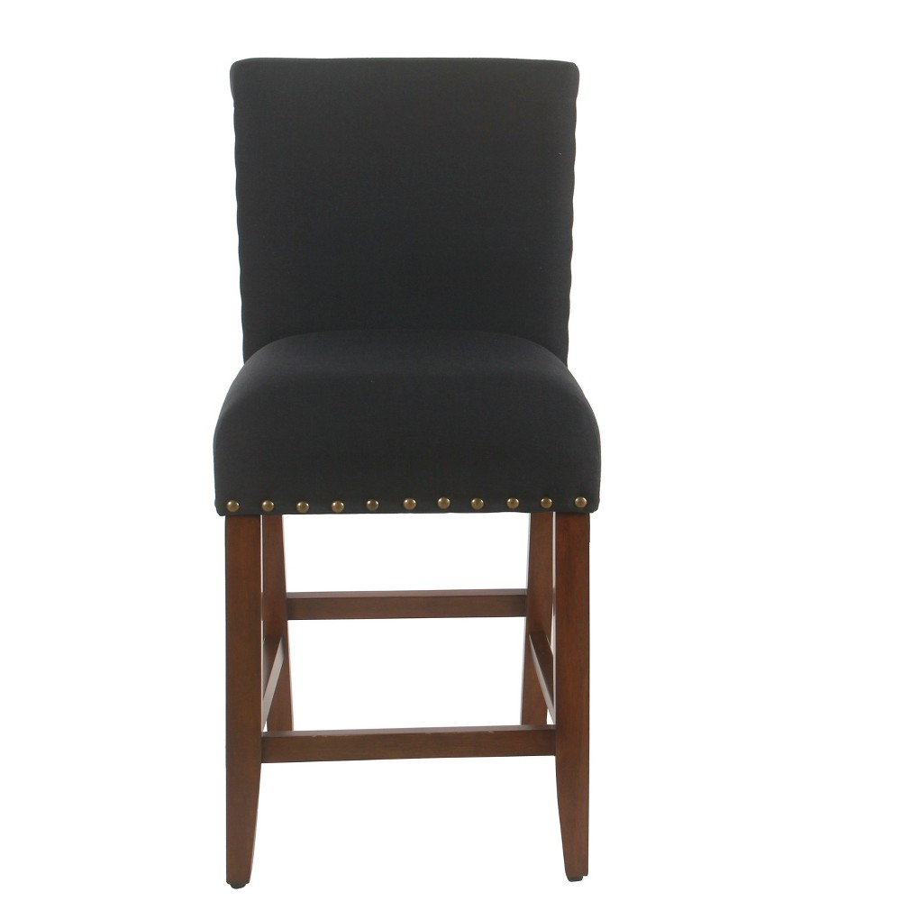 """Image of """"25"""""""" Upholstered Counter Stool with Nailheads Deep Navy - Homepop, Blue"""""""