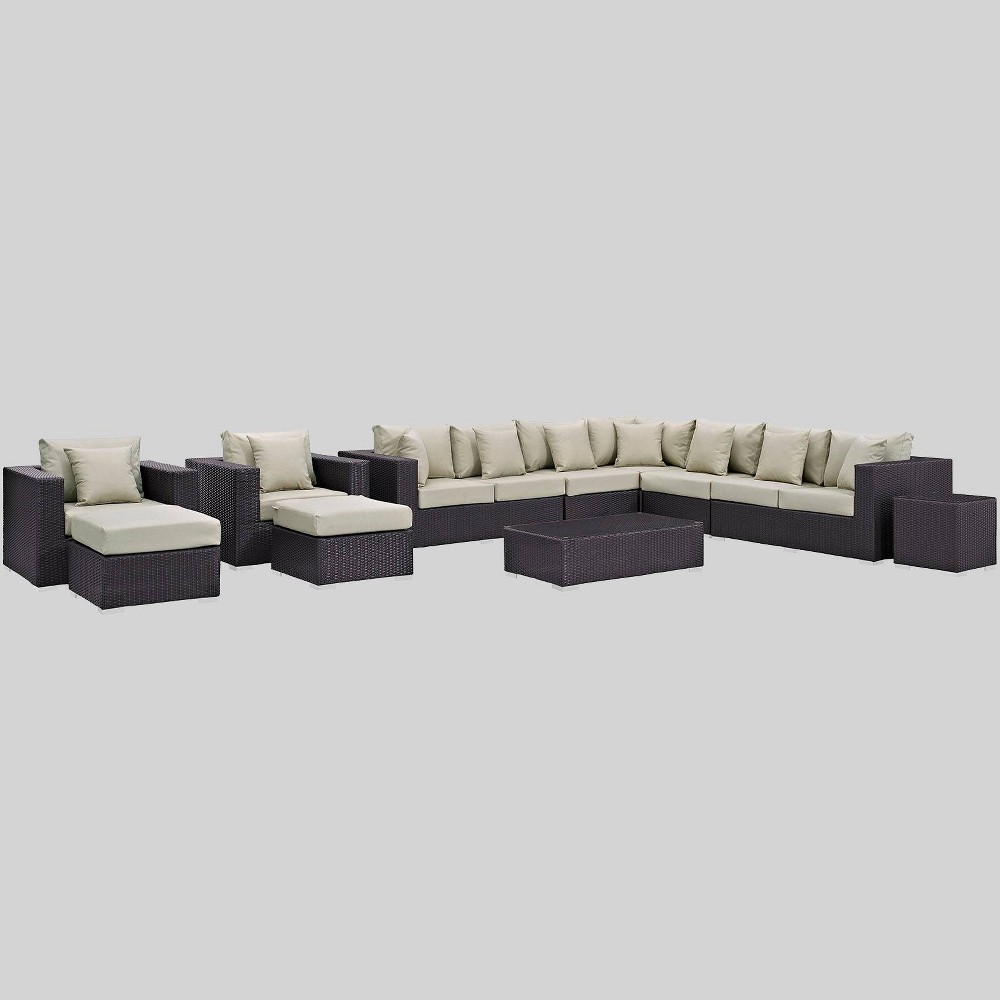 Convene 11pc Outdoor Patio Sectional Set - Beige - Modway