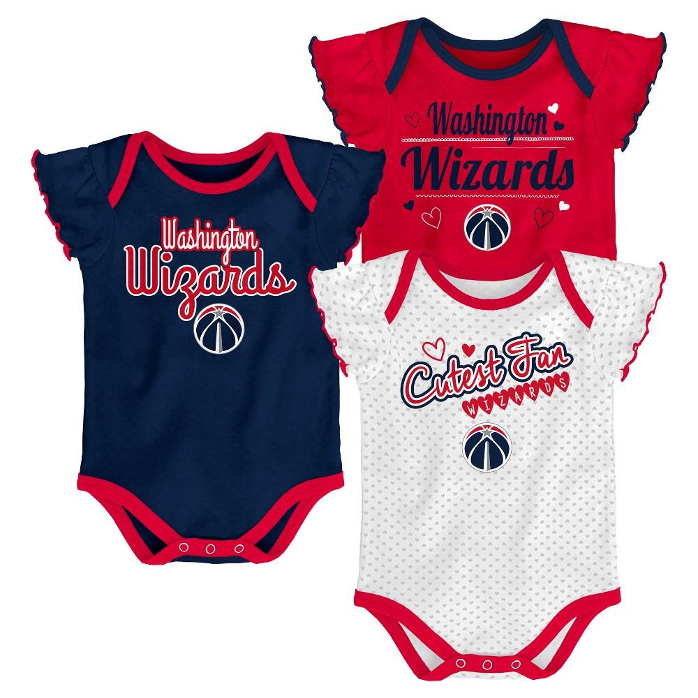 Washington Wizards Girls' Draft Pick 3pk Body Suit Set 0-3M, Multicolored