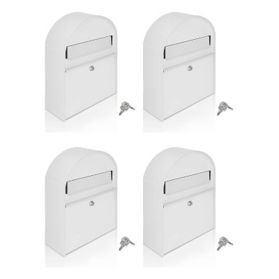 SereneLife SLMAB15 Home Indoor Outdoor Galvanized Steel Metal Wall Mount Secure Locking Mailbox Magazine Newspaper Holder with Keys, White (4 Pack)