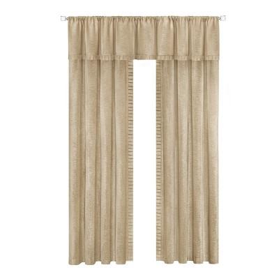 Kate Aurora Modern Lux Complete 3 Piece Chenille Curtain Panels & Valance Set