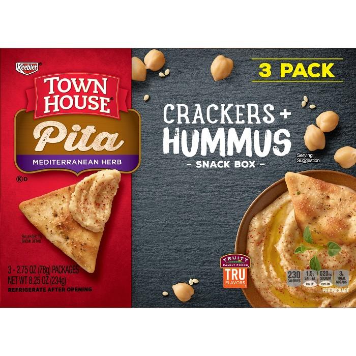 Townhouse Mediterranean Herb Pita Crackers & Hummus Snackbox - 3ct - image 1 of 5
