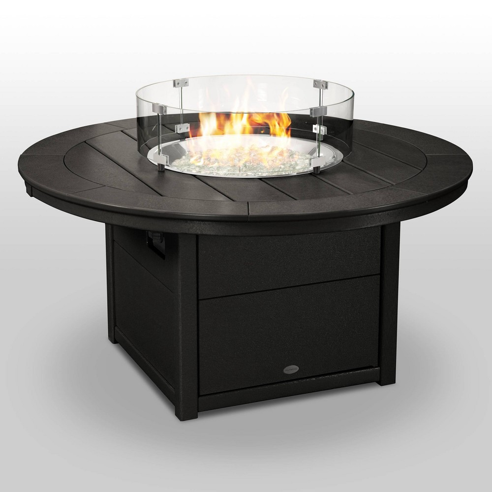 Polywood Round 48 Outdoor Fire Pit Table - Black