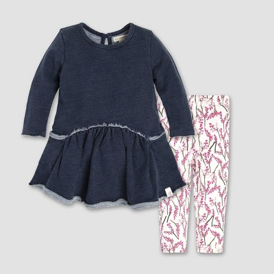 Burt's Bees Baby® Baby Girls' French Terry Denim Wash Dress and Leggings Set - Midnight 0-3M