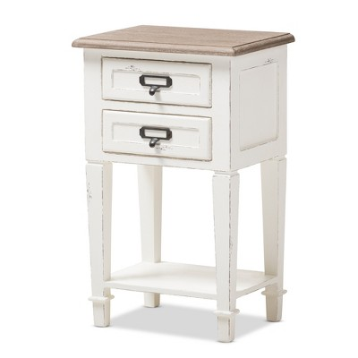Dauphine Provincial Style Weathered Oak and Wash Distressed Finish Wood Nightstand - White - Baxton Studio