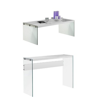 Monarch Glass Accent Console Table w/ Monarch Accent Glass Coffee Table