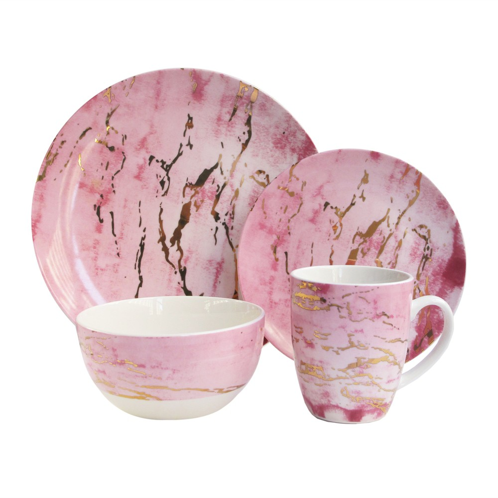 Image of American Atelier 16pc Porcelain Marble Dinnerware Set Pink/Gold