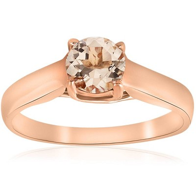 Pompeii3 6MM Morganite Solitaire Engagement Anniversary Ring 14K Rose Gold