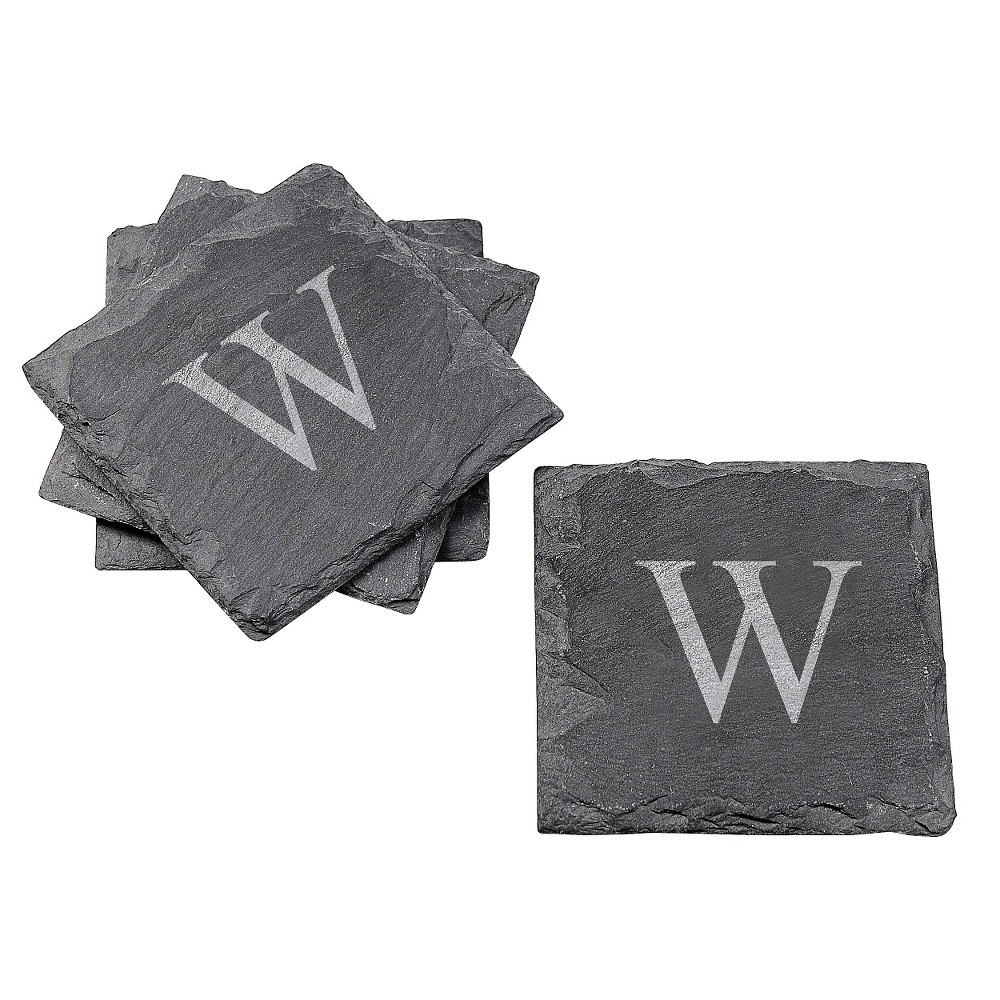 Cathy's Concepts Personalized Slate Coaster Set of 4 - W, Black