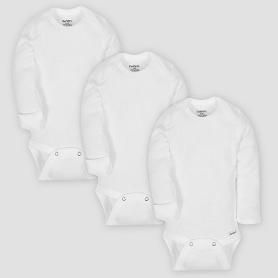 Gerber Baby Organic Cotton 3pk Long Sleeve Onesies Bodysuit with Mitten Cuff - White 0-3M