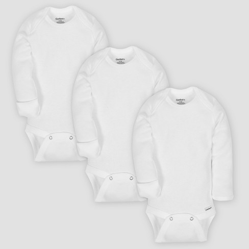 Gerber Baby Organic Cotton 3pk Long Sleeve Onesies Bodysuit with Mitten Cuff - White - image 1 of 2