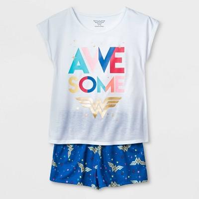 Girls' Wonder Woman Awesome 2pc Short Sleeve Pajama Set - Navy/White M