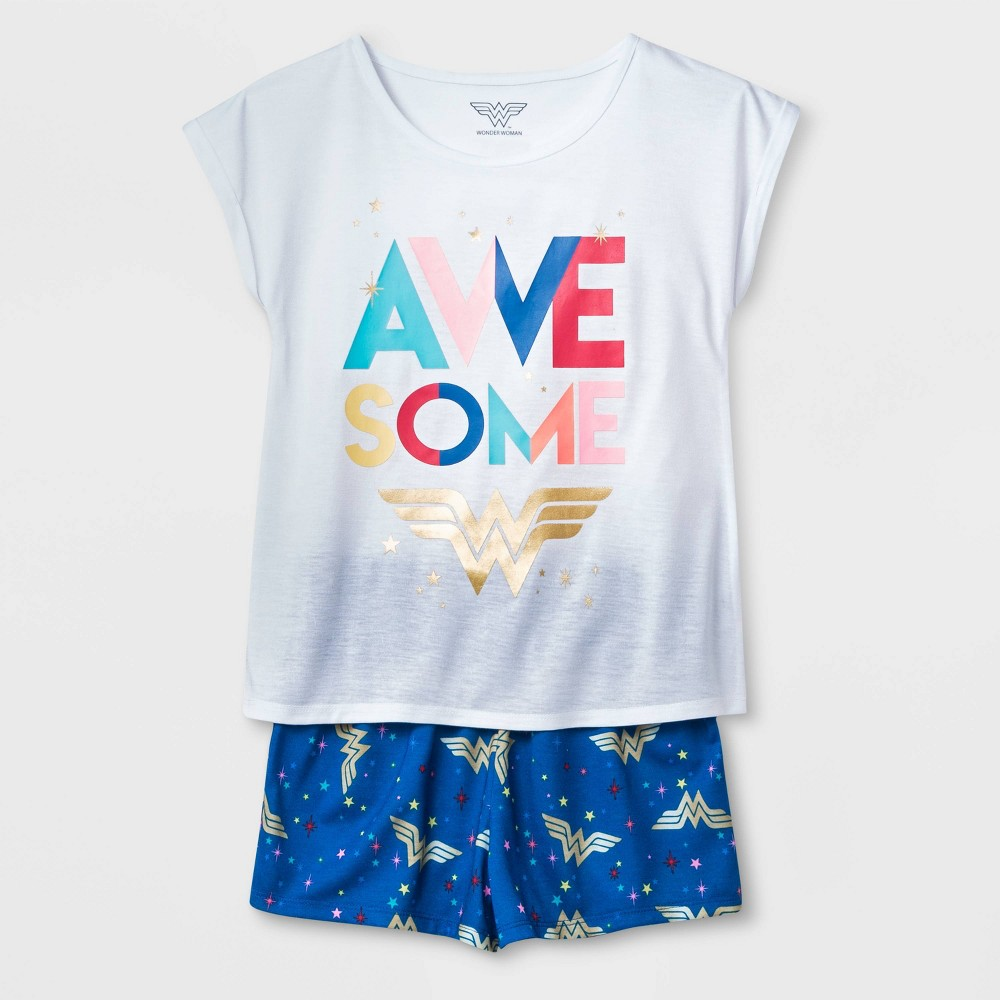 Image of petiteGirls' Wonder Woman Awesome 2pc Short Sleeve Pajama Set - Navy/White L, Girl's, Size: Large, Blue/White