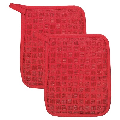 "2pk 7""X9"" Herringbone Potholder Red - Mu Kitchen"