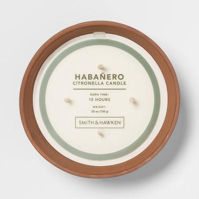 25oz Citronella 4-Wick Candle in Terracotta Pot Habanero - Smith & Hawken™