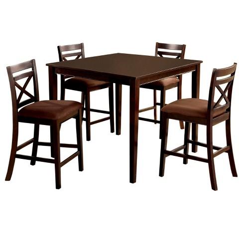 Iohomes 5pcs Dallas Dining Table Set Wood Espresso