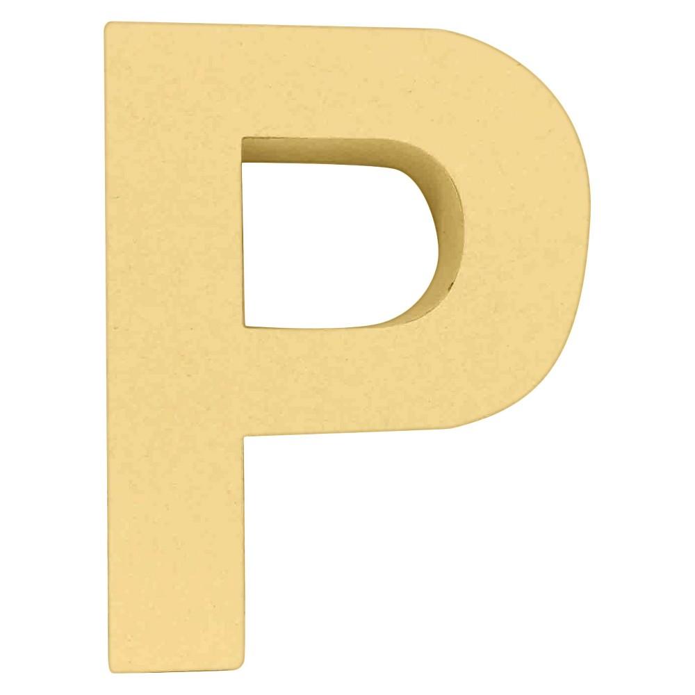 7 Paper Mache Letter P - Hand Made Modern, Brown