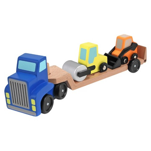 Melissa & Doug® Low Loader Wooden Vehicle Play Set - 1 Truck With 2 Chunky Construction Vehicles - image 1 of 2