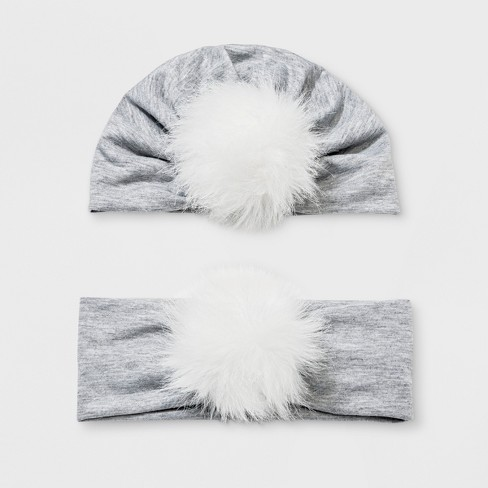 Baby Girls' 2pc Mommy & Me Pom Hat Set - Cat & Jack™ Gray - image 1 of 1