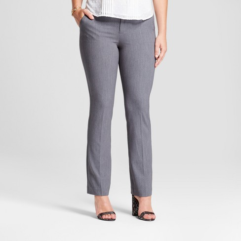 Women's Bootcut Curvy Bi-Stretch Twill Pants - A New Day™ Gray 4L - image 1 of 3
