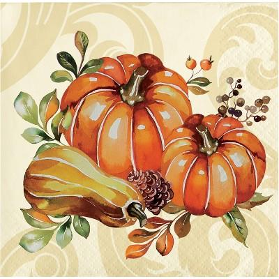 48ct Autumn Wreath Beverage Napkins