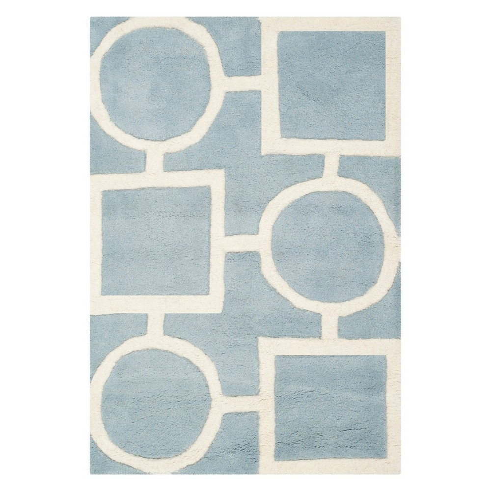 3X5 Geometric Tufted Accent Rug Blue/Ivory - Safavieh Discounts