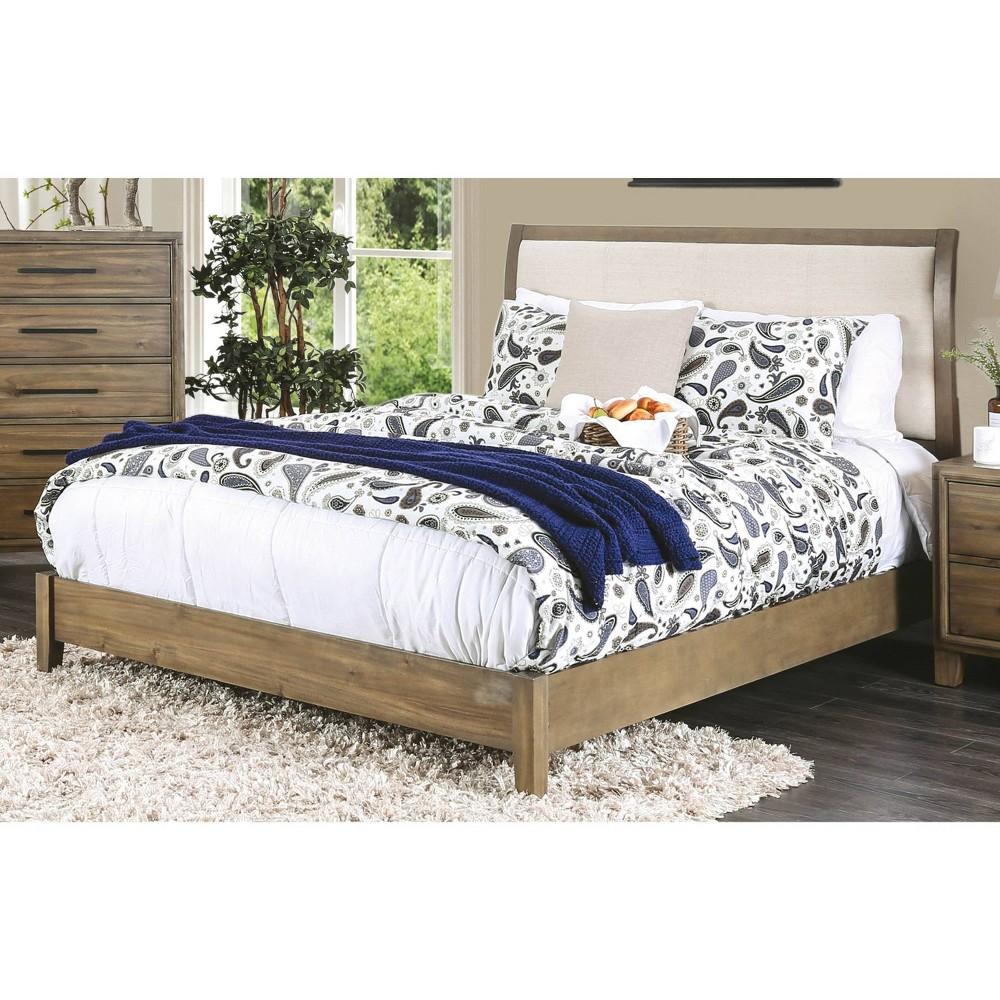 Piran Wood Bed with Upholstered Headboard Full Laurel Oak - Sun & Pine
