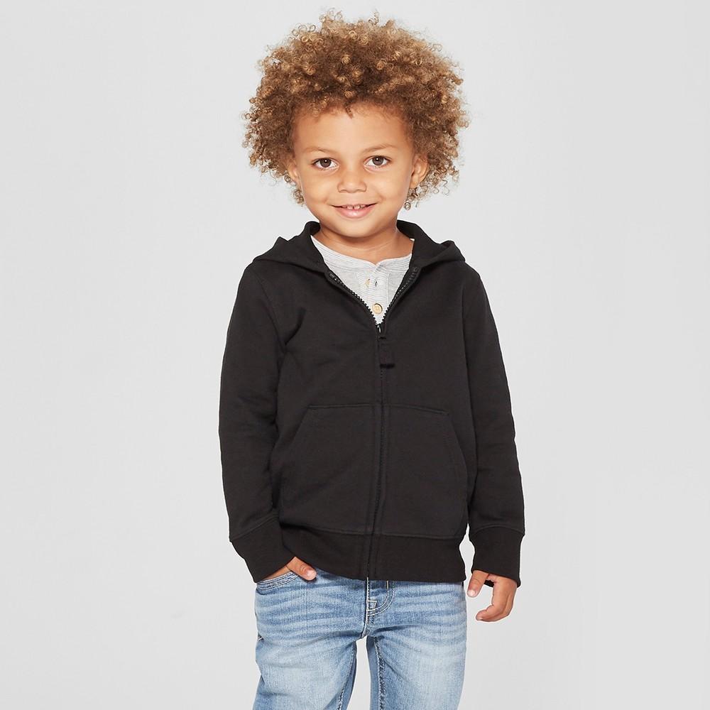 Toddler Boys' Long Sleeve Zip-Up Hoodie - Cat & Jack Black 12M