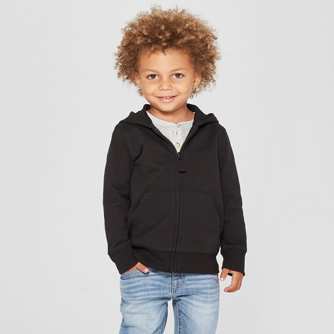 Toddler Boys' Long Sleeve Zip-Up Hoodie - Cat & Jack™ Black - image 1 of 3