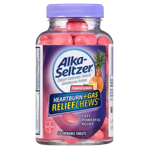 Alka Seltzer Heartburn and Gas Relief Tropical Punch Chewable - 54ct - image 1 of 2