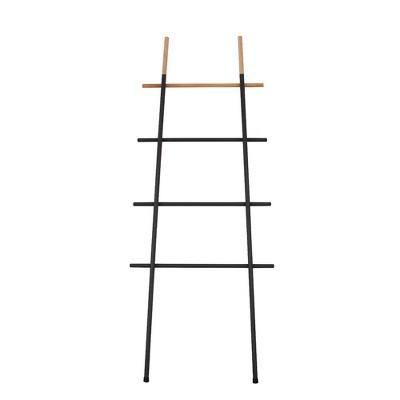 INNOKA Decorative Leaning Wall Ladder Rack for Blankets Towels Linen Quilt Storage in Living Room Bedroom Bathroom, 5.6 ft in Black