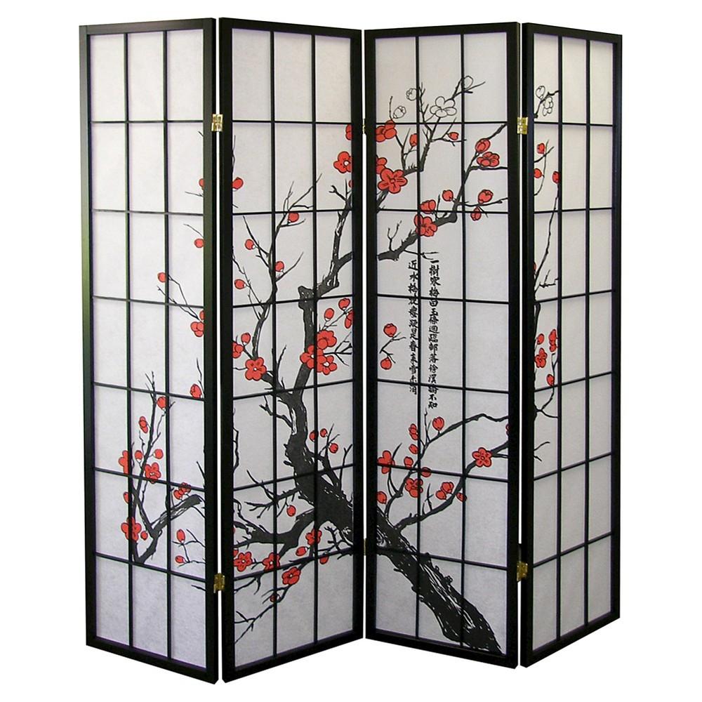 Image of 4 Panel Room Divider Black - Ore International, Black Red White