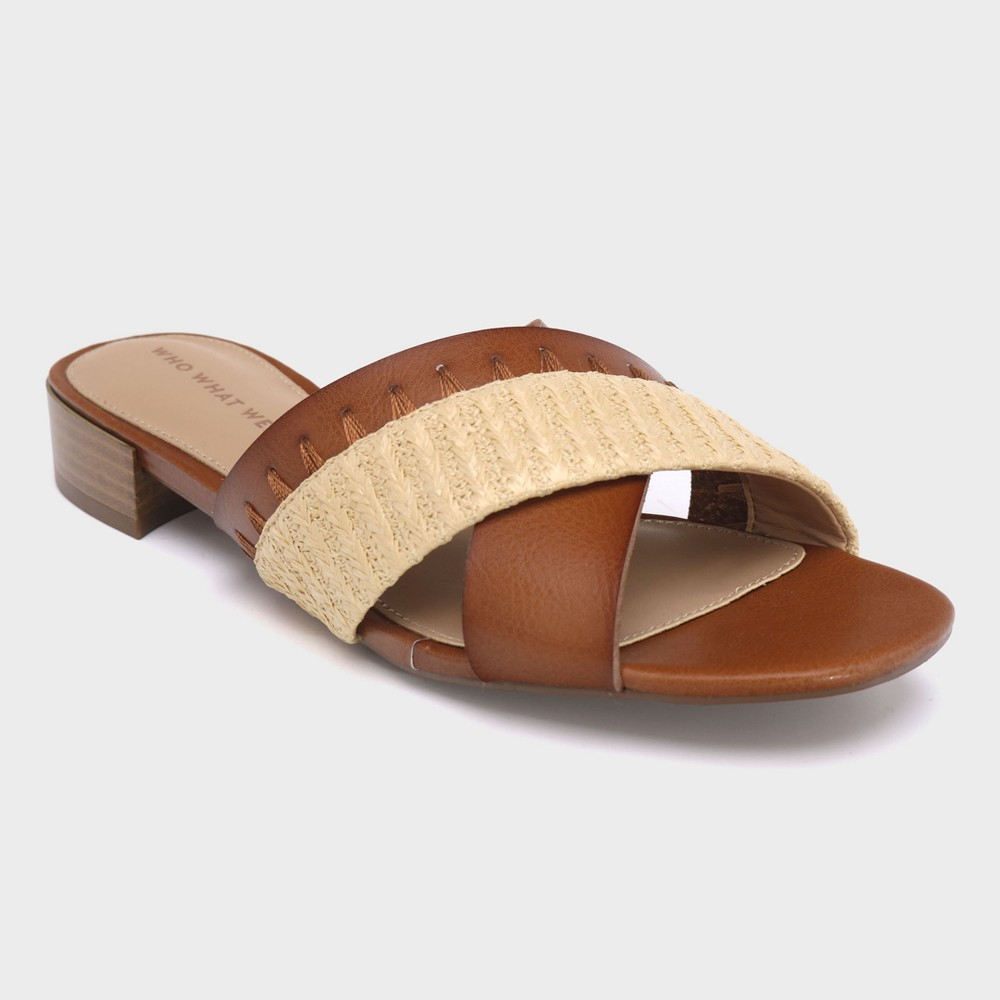 Women's Stella Heeled Cross Band Slide Sandals - Who What Wear Cognac (Red) 7